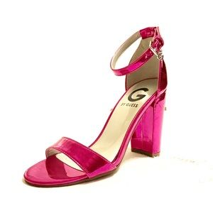 G by Guess pink chunky ankle strap sandals